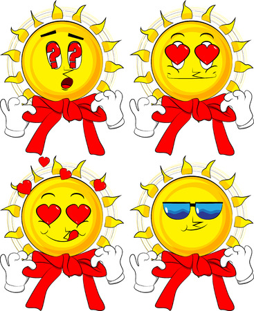 Cartoon sun tying ribbon on its neck. Collection with various facial expressions. Vector set.