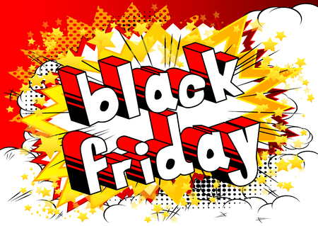 Black Friday - Comic book style word on abstract background. Ilustracja