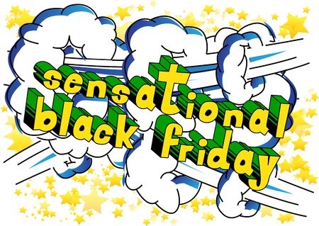 Sensational Black Friday - Comic book style word on abstract background.