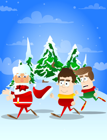 Santa Claus chased by kids. Vector cartoon character illustration. Illustration