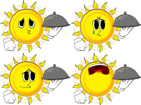 Cartoon sun holding silver cloche in hand. Collection with sad faces. Expressions vector set. Illustration