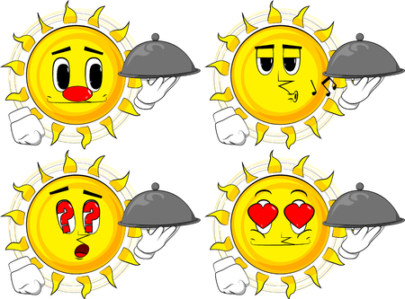 Cartoon sun holding silver cloche in hand. Collection with various facial expressions. Vector set. 向量圖像