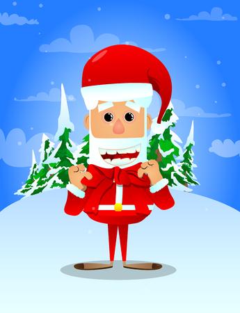 산타 클로스 그의 목에 빨간 리본을 매입니다. 벡터 만화 캐릭터 그림입니다.