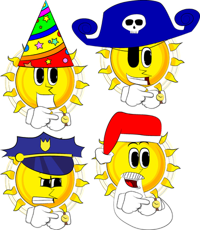 Cartoon sun checking watch in various costume; collection of Expressions vector set.