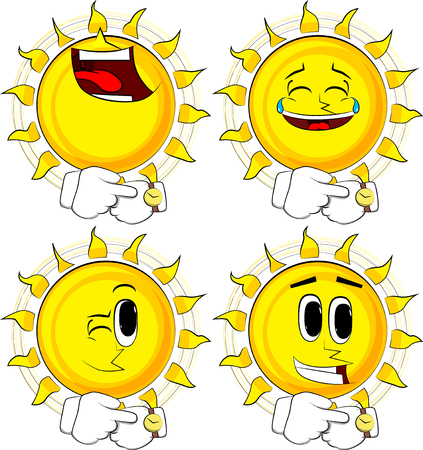 Cartoon sun checking watch, with happy faces; collection of Expressions vector set. 版權商用圖片 - 91668876