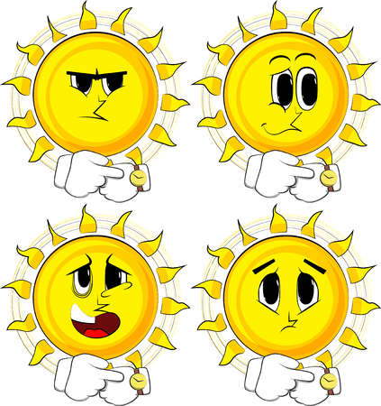 Cartoon zon horloge controleren; met droevige gezichten; verzameling van expressies vector set.