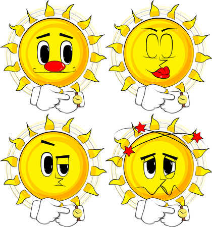 Cartoon sun checking watch in various facial expression; collection of Expressions vector set.