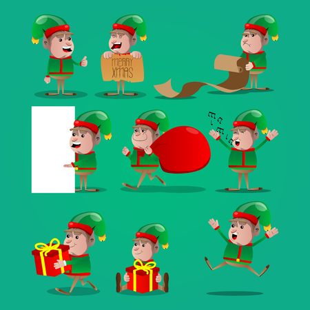 Set of Christmas Elf Vector cartoon character illustration. Иллюстрация
