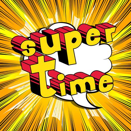 スーパータイム - 抽象的な背景に漫画本スタイルの単語。