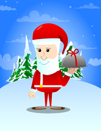 Santa Claus with silver cloche in hand. Vector cartoon character illustration.