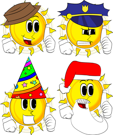 Cartoon sun holding blank tube of paste. Collection with costume. Expressions vector set.