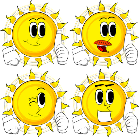 Cartoon sun holding blank tube of paste. Collection with happy faces. Expressions vector set. Illustration