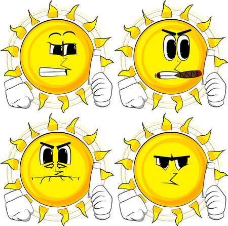 Cartoon sun holding blank tube of paste. Collection with angry faces. Expressions vector set. Illustration