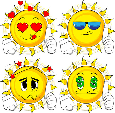 Cartoon sun holding blank tube of paste. Collection with various facial expressions. Vector set.