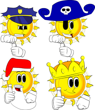 Cartoon sun with blank tube of paste. Collection with costume. Expressions vector set.