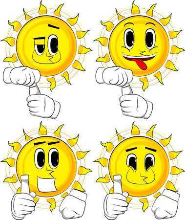 Cartoon sun with blank tube of paste. Collection with happy faces. Expressions vector set. Illustration