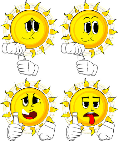 Cartoon sun with blank tube of paste. Collection with sad faces. Expressions vector set.