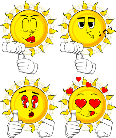 Cartoon sun with blank tube of paste. Collection with various facial expressions. Vector set. Ilustração