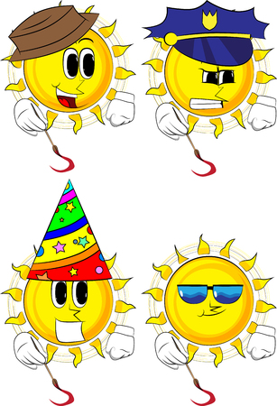 Cartoon artist sun painting. Collection with costume. Expressions vector set. Illustration