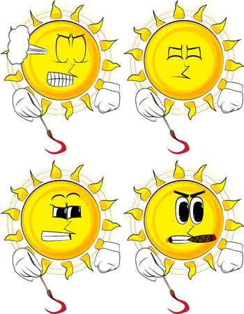 Cartoon artist sun painting. Collection with angry faces. Expressions vector set.