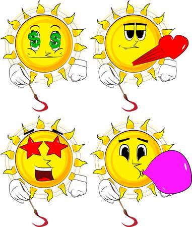 Cartoon artist sun painting. Illustration