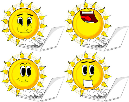 Set of sun icons with different emotions.