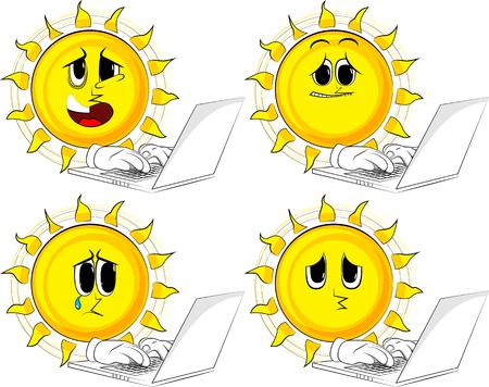 Set of sun icons with different emotions. Stock Vector - 91887018