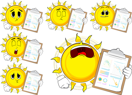 Cartoon sun shows finance report. Collection with sad faces. Expressions vector set.