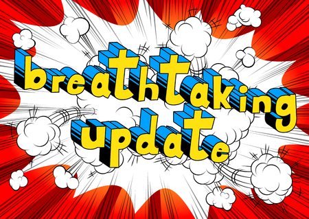 Breathtaking Update - Comic book style word on abstract background.