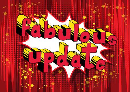 Fabulous Update - Comic book stijl word op abstracte achtergrond.