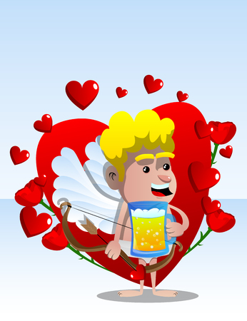 Cupid holding a mug of beer, with bow and arrow in the other hand. Vector cartoon character illustration.