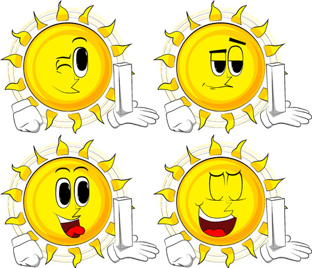 Cartoon sun holding white tall box. Collection with happy faces. Expressions vector set.