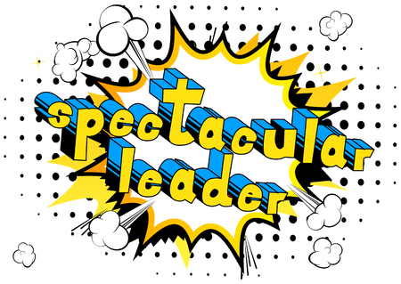 Spectacular Leader - Comic book style word on abstract background.
