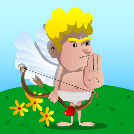 Cupid holding his hand as a stop sign, with bow and arrow in the other hand. Vector cartoon character illustration.