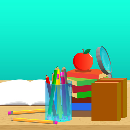 School books on desk, education concept. Vector cartoon style illustration.