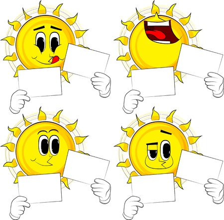 Cartoon sun holding two white paper. Collection with happy faces. Expressions vector set. Illustration
