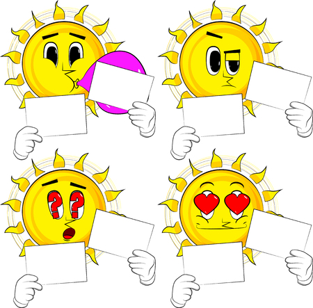 Cartoon sun holding two white paper. Collection with various facial expressions. Vector set.