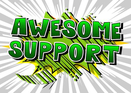 Awesome support - comic book style word on abstract background. Фото со стока - 92204956