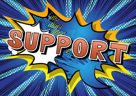 Support - Comic book style word on abstract background.