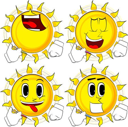Cartoon zon met medische injectie in de hand. Collectie met blije gezichten. Uitdrukkingen vector set.