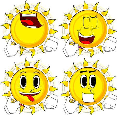Cartoon sun with medical injection in hand. Collection with happy faces. Expressions vector set. Illustration