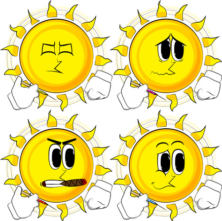 Cartoon sun with medical injection in hand. Collection with sad faces. Expressions vector set. Illustration