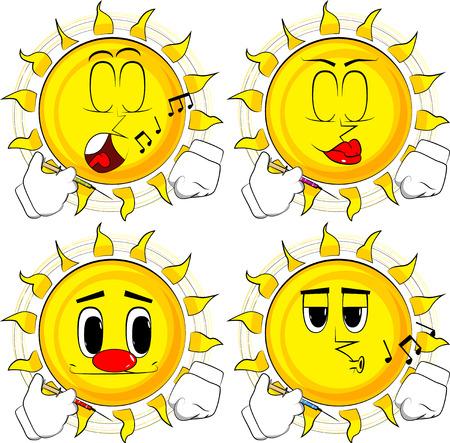 Cartoon zon met medische injectie in de hand. Collectie met verschillende gezichtsuitdrukkingen. Vector set