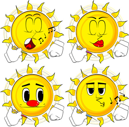 Cartoon sun with medical injection in hand. Collection with various facial expressions. Vector set. Illustration
