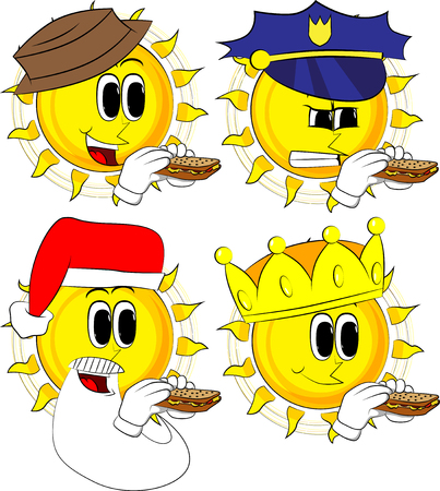 Cartoon sun eating a sandwich. Collection with costume. Expressions vector set. Illustration