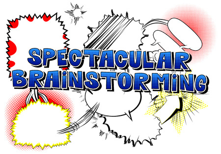 Spectacular Brainstorming - Comic book style word on white background. Illustration