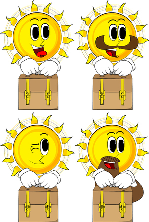 Icon set of sun with different emotions.