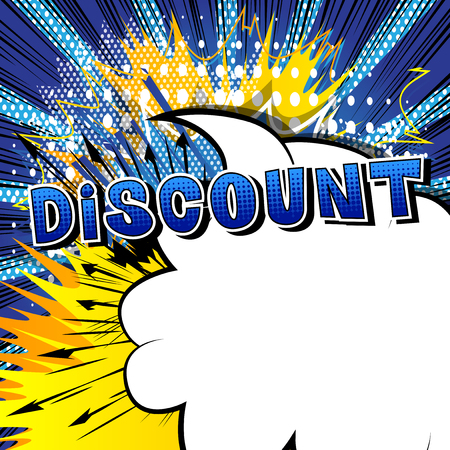 Discount text in comic book style. Illustration