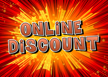 Online Discount text in Comic book style