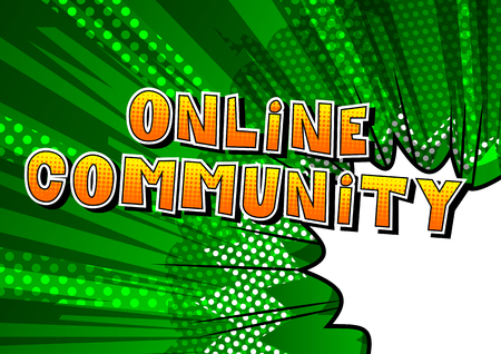 Online Community - Comic book style word on abstract background. Ilustração